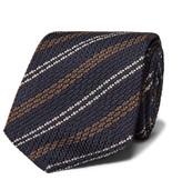 Drake's - 8cm Striped Woven Silk Tie