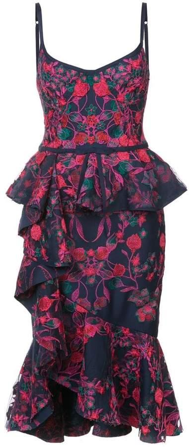Marchesa floral shift midi dress