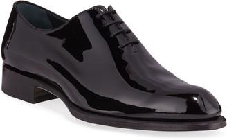 Brioni Men's Cardinal Whole-Cut Patent Leather Dress Shoes
