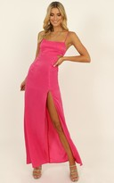 Showpo A Special Mention Dress in hot pink satin - 14 (XL) The Bright
