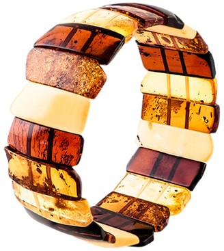 Be Jewelled Be-Jewelled Amber Stretch Cuff, Cognac/Multi