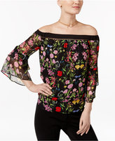 INC International Concepts Petite Floral-Print Off-The-Shoulder Tiered Top, Only at Macy's