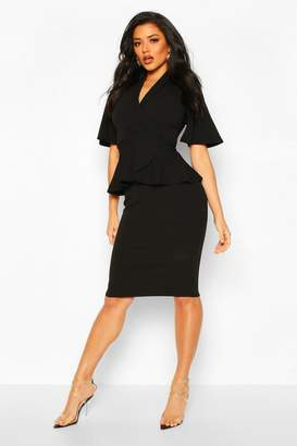 boohoo Flared Sleeve Wrap Peplum Dress