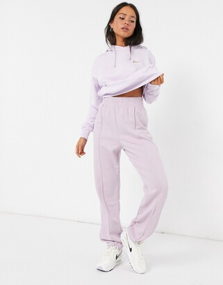 Nike mini metallic swoosh oversized purple joggers