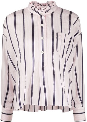 Etoile Isabel Marant Striped Ruffled Neck Shirt