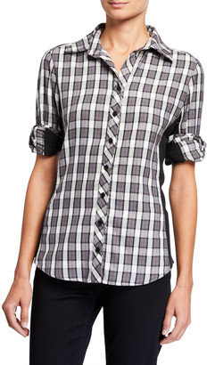 Finley Casey Charcoal Check Button-Down Combo Shirt w/ Knit Sides