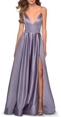 La Femme Deep V-Neck Lace-Up Back Satin A-Line Gown