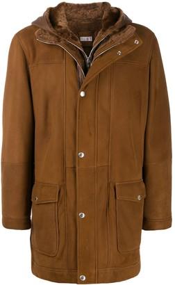 Brunello Cucinelli hooded leather coat