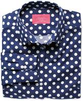 Charles Tyrwhitt Women's semi-fitted spot print navy and white poplin shirt