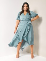 Forever New Rosette Curve High Low Maxi Dress - Ocean Teal - 18