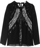 Altuzarra Madge Sequin-embellished Silk-chiffon Blouse - Black