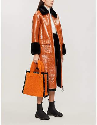 STAND Kristen faux-fur-trimmed patent faux-leather coat