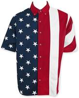 Patriotic American Flag USA Button Up Dress Shirt XL