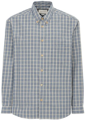 Gucci Embroidery Check Cotton Shirt
