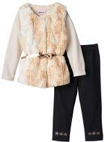 Little Lass Toddler Girl Faux-Fur Vest, Striped Tee & Leggings Set