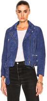 Acne Studios Mock Suede Leather Jacket in Blue.