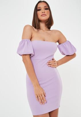 Missguided Lilac Scuba Bardot Mini Dress