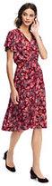 Lands' End Women's Tall Flutter Sleeve Surplice Dress-Rich Cardinal Mixed Floral