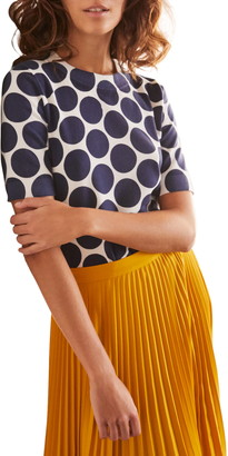 Boden Abingdon Stripe Short Sleeve Cotton Blend Sweater