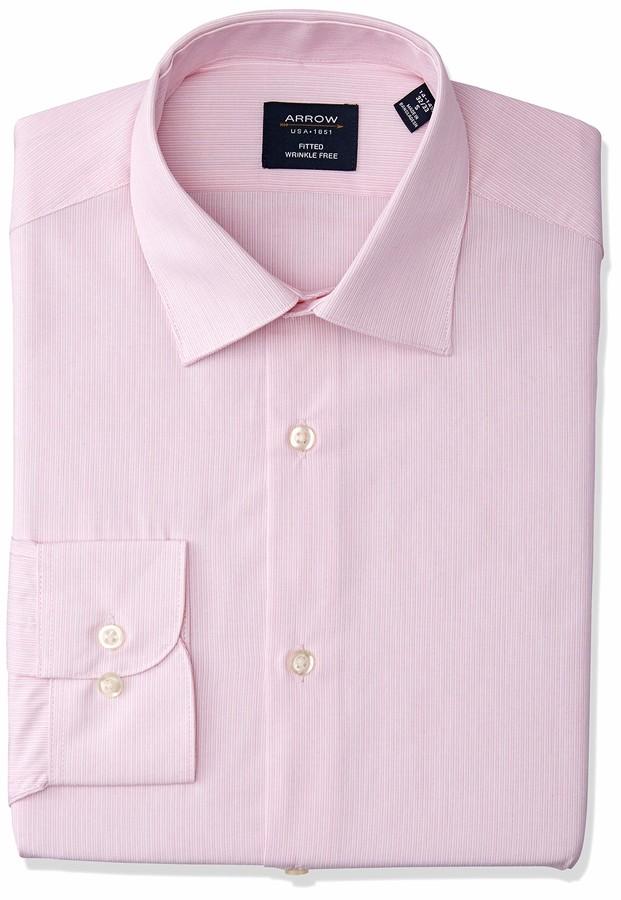 Arrow 1851 Mens Dress Shirt Regular Fit Check