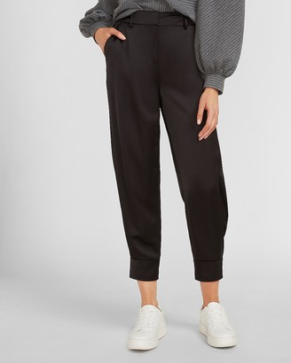Express High Waisted Satin Cuffed Jogger Pant