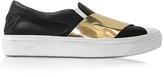 N°21 Black & Gold Metallic Leather Slip-on Sneaker