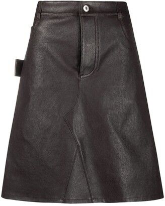 Bottega Veneta leather A-line skirt
