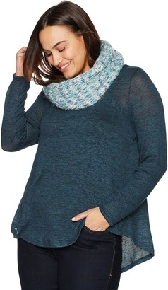 One World ONEWORLD Women's Plus Size Long Sleeve Knit Top with Attached Chunky Scarf