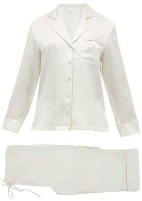Fleur of England Piped-edge Silk-satin Pyjamas - Womens - White
