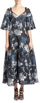 Erdem Floral Brocade V-Neck Tea-Length Gown, Black/Blue