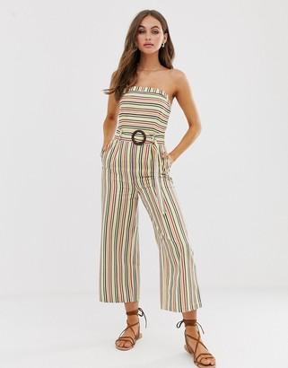 Moon River bandeau jumpsuit with waist belt
