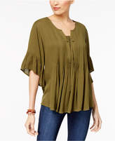 Style&Co. Style & Co Ruffled Lace-Up Top, Created for Macy's