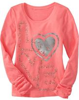 Old Navy Girls Graphic Ruched-Sleeve Tees