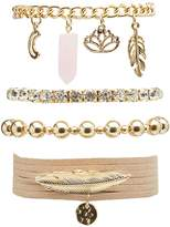 Charlotte Russe Beaded, Faux Suede & Rhinestone Layering Bracelets - 5 Pack