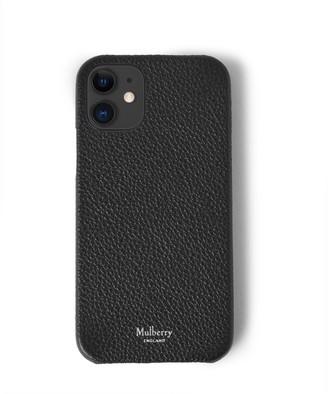 Mulberry iPhone 12 Case Black Classic Grain