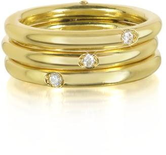 Bernard Delettrez 9K Gold Triple Secret Ring w/Diamonds
