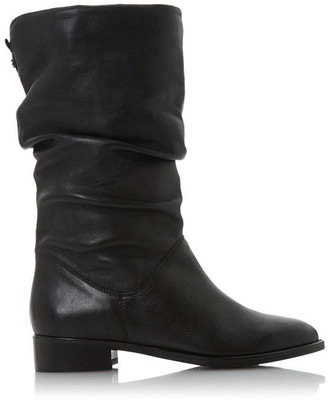 Dune London Rosalinda Black Leather Ruched Calf Boots