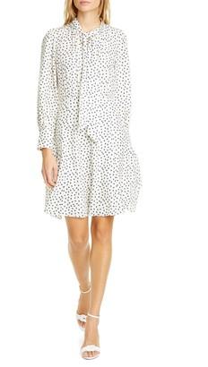 Rebecca Taylor Blurry Heart Print Long Sleeve Silk Dress