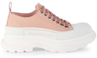 Alexander McQueen Chunky Canvas & Leather Platform Sneakers