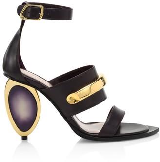 Alexander McQueen Metal-Heel Leather Sandals
