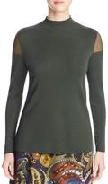 Lafayette 148 New York Sheer Shoulder Mock Neck Sweater