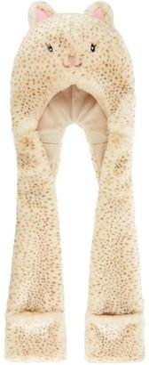 Monsoon Girls Leopard Cat Hat Scarf - Brown