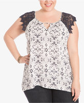Eyeshadow Trendy Plus Size Lace-Sleeve Top