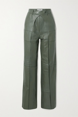 Situationist Pleated Leather Wide-leg Pants - Army green