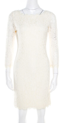 Diane von Furstenberg Cream Long Sleeve Zarita Lace Dress S