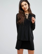 Greylin Alicia Studded Tie Neck Blouse