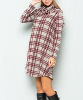 Sweet Pea Gray & Burgundy Plaid Side-Pocket Cowl Neck Shift Dress