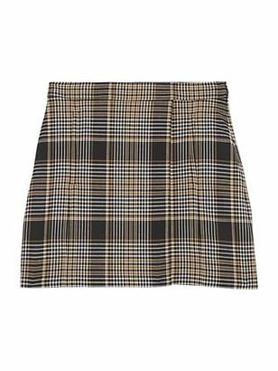 Theory Plaid Wrap Wool-Blend Mini Skirt