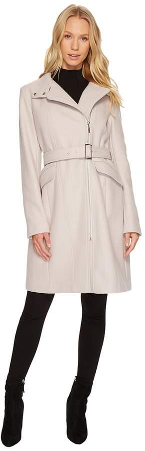 Cole Haan Exposed Zip Front Belted Coat Women's Coat