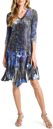 Hydroderm Floral Charmeuse & Chiffon A-Line Dress